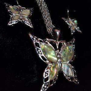 BUNDLE ONLY green butterfly necklace & earrings